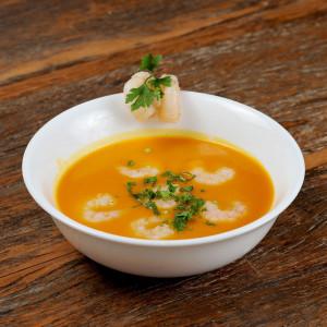 Sopa de Abóbora com Camarão e Páprica